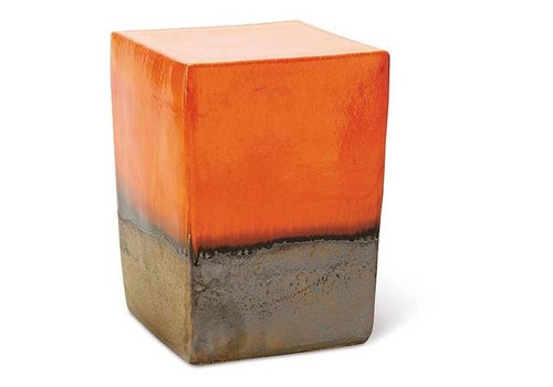 SEASONAL LIVING TWO GLAZE SQUARE CUBE - ORANGE TOP AND SIDES / METALLIC BASE