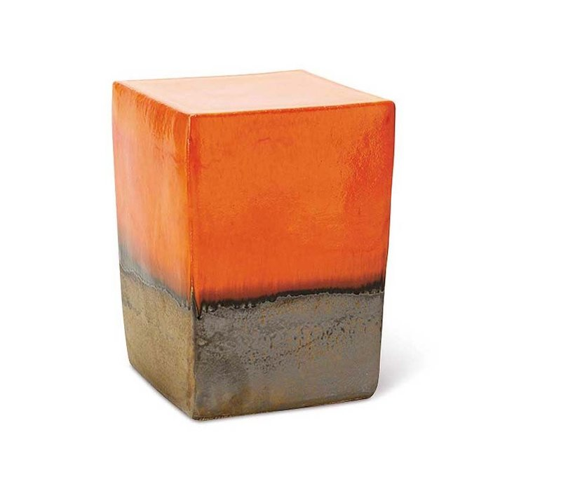 TWO GLAZE SQUARE CUBE - ORANGE TOP AND SIDES / METALLIC BASE