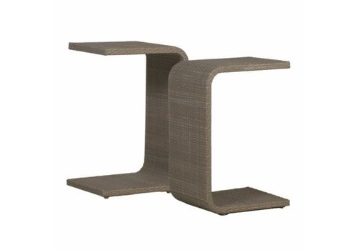 SUMMER CLASSICS C TABLE WITH SLATTED TOP - OYSTER
