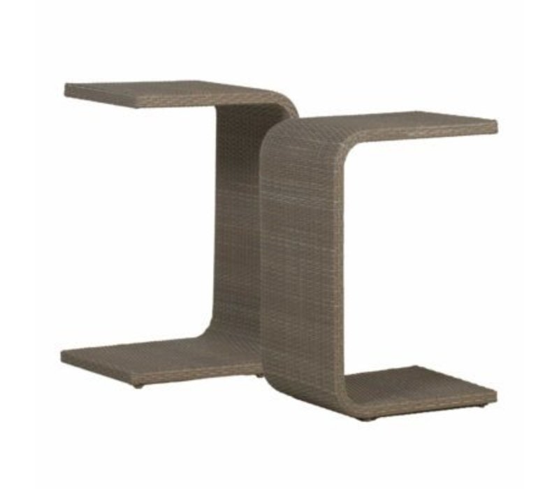 SUMMER CLASSICS C TABLE WITH SLATTED TOP   OYSTER