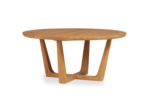 LLOYD FLANDERS AGED TEAK 40 INCH ROUND SLED BASE COCKTAIL TABLE