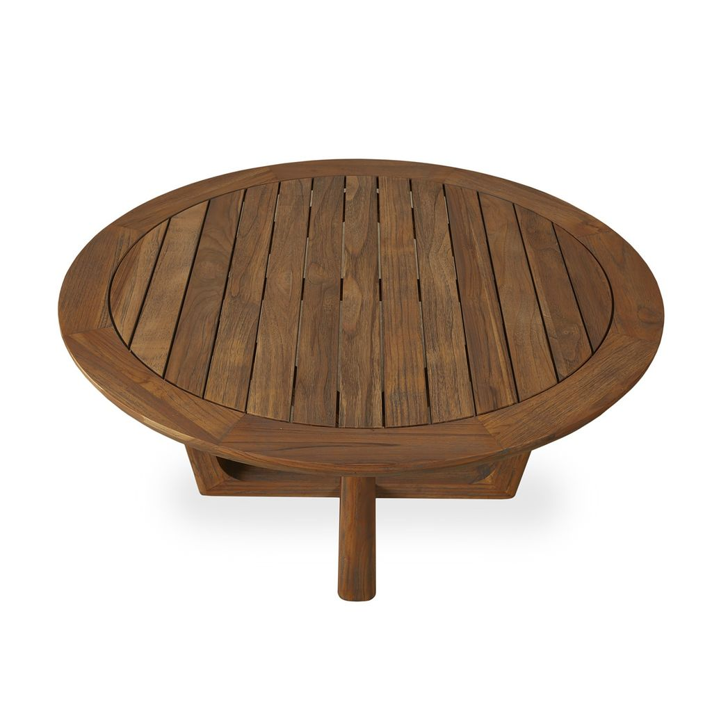 Aged Teak 40 Inch Round Sled Base Cocktail Table