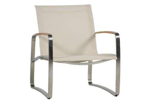 SUMMER CLASSICS DELRAY LOUNGE CHAIR - STAINLESS WITH CANVAS SLING