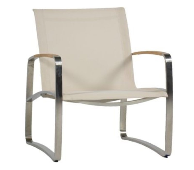 DELRAY LOUNGE CHAIR   STAINLESS WITH CANVAS SLING
