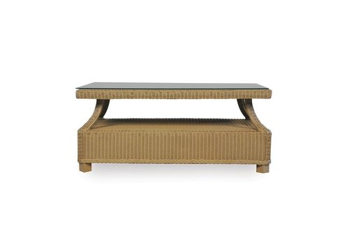 LLOYD FLANDERS HAMPTONS RECTANGULAR COCKTAIL TABLE WITH LAY ON GLASS