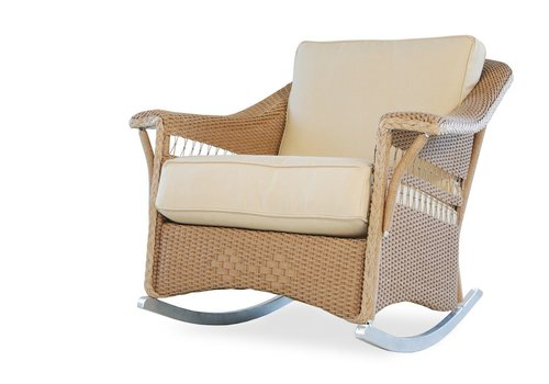 LLOYD FLANDERS NANTUCKET LOUNGE ROCKER WITH GARDE A FABRIC / SELF WELT