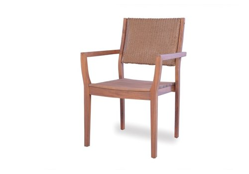 LLOYD FLANDERS TEAK LOOM BACK DINING ARM CHAIR