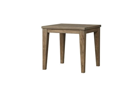 LLOYD FLANDERS WILDWOOD SQUARE TAPERED LEG END TABLE IN HEATHER GRAY