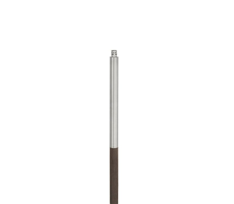 PALOS POLISHED STAINLESS STEEL OUTDOOR GARDEN TORCH - WOODEN POST