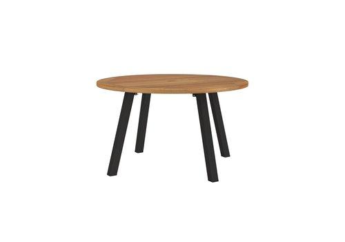 ROYAL BOTANIA DISCUS 51 INCH ROUND TABLE - POWDER COATED ALUMINUM BASE IN BLACK  / TEAK TOP