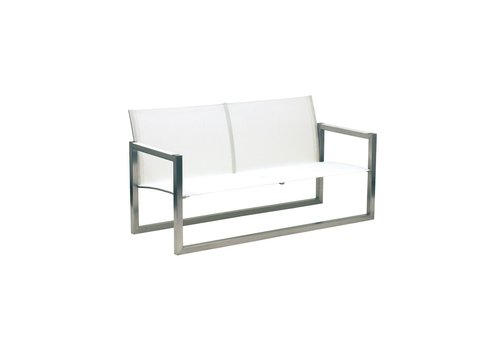 ROYAL BOTANIA NINIX LOW BENCH IN BRUSHED STAINLESS AND WHITE BATYLINE