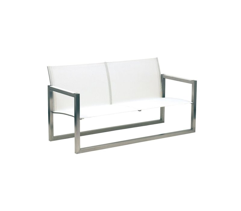 NINIX LOW BENCH / BRUSHED STAINLESS STEEL / WHITE BATYLINE