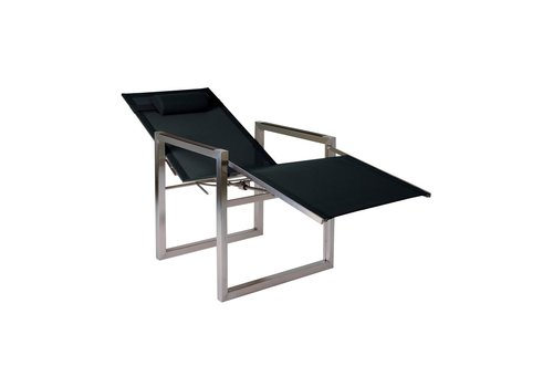 ROYAL BOTANIA NINIX 65 RECLINING RELAX CHAIR IN ELECTROPOLISHED STAINLESS STEEL / BLACK BATYLINE