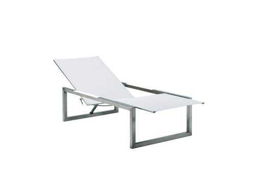 ROYAL BOTANIA NINIX 195 CHAISE IN ELECTROPOLISHED STAINLESS STEEL / WHITE COLOR BATYLINE