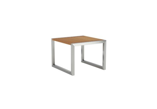 ROYAL BOTANIA NINIX SQUARE SIDE TABLE - BRUSHED STAINLESS WITH TEAK TOP
