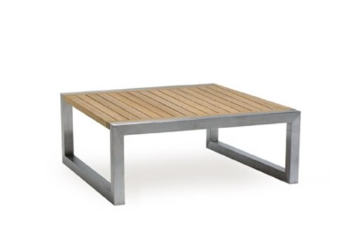 ROYAL BOTANIA NINIX 35 INCH SQUARE LOW TABLE / BRUSHED STAINLESS STEEL WITH TEAK TOP
