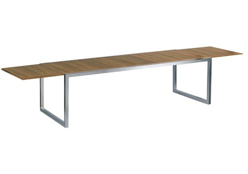 ROYAL BOTANIA NINIX 95-142x39 INCH EXTENSION DINING TABLE - BRUSHED STAINLESS STEEL WITH TEAK TOP
