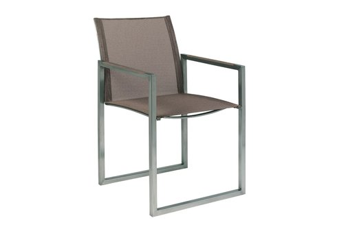 ROYAL BOTANIA NINIX DINING ARM CHAIR / BRUSHED STAINLESS STEEL WITH CAPPUCCINO BATYLINE