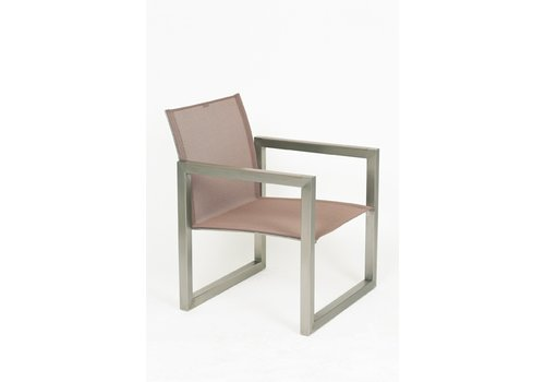 ROYAL BOTANIA NINIX RELAX LOUNGE CHAIR IN EP STAINLESS WITH CAPPUCCINO BATYLINE