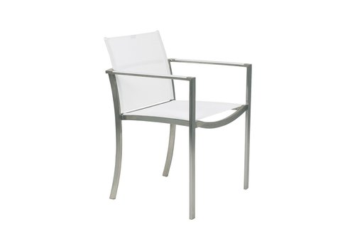 ROYAL BOTANIA O-ZON ARM CHAIR - BRUSHED STAINLESS WITH WHITE BATYLINE