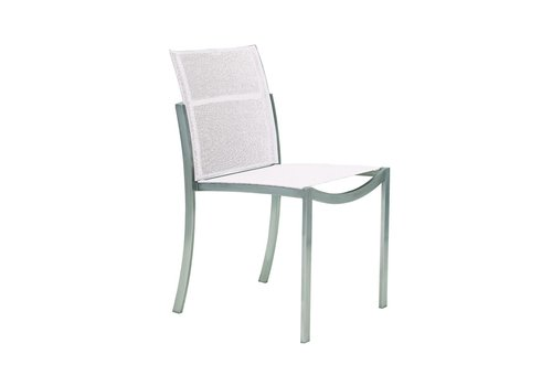 ROYAL BOTANIA O-ZON DINING SIDE CHAIR - BRUSHED STAINLESS WITH WHITE BATYLINE