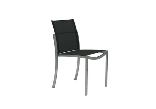 ROYAL BOTANIA O-ZON DINING SIDE CHAIR IN EP STAINLESS WITH BLACK BATYLINE