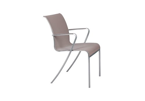 ROYAL BOTANIA QT ARM CHAIR IN BRUSHED STAINLESS AND CAPPUCCINO BATYLINE