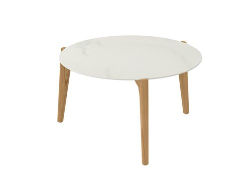 ROYAL BOTANIA TEA TIME ROUND SIDE TABLE - TEAK BASE WITH CERAMIC TOP