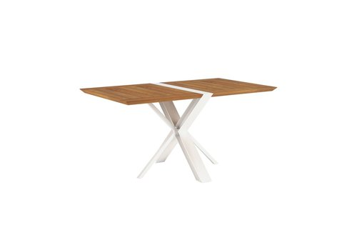 ROYAL BOTANIA TRAVERSE 59x33 FOLDING DINING TABLE - WHITE POWDER COATED ALUMINUM FRAME / TEAK TOP