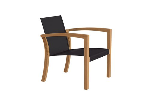 ROYAL BOTANIA XQI 77 LOW RELAX CHAIR - TEAK WITH BLACK BATYLINE