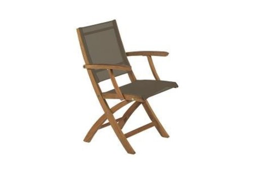 ROYAL BOTANIA XQI FOLDING DINING CHAIR - TEAK WITH BRONZE BATYLINE