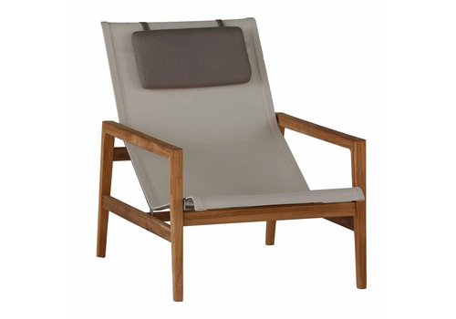 SUMMER CLASSICS COAST EASY CHAIR - NATURAL TEAK WITH CANVAS BATYLINE SLING