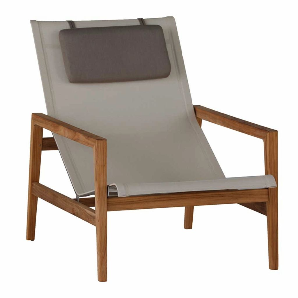 SUMMER CLASSICS COAST EASY CHAIR IN NATURAL TEAK WITH CANVAS BATYLINE SLING