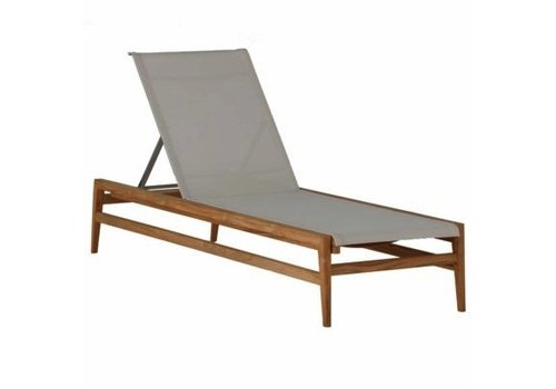 SUMMER CLASSICS COAST CHAISE LOUNGE - NATURAL TEAK WITH CANVAS BATYLINE SLING