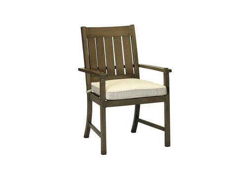SUMMER CLASSICS CROQUET ALUMINUM ARM CHAIR - SLATE GRAY