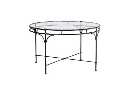 BROWN JORDAN FLORENTINE 48 INCH ROUND DINING TABLE WITH GLASS TOP TO HOLD UMBRELLA