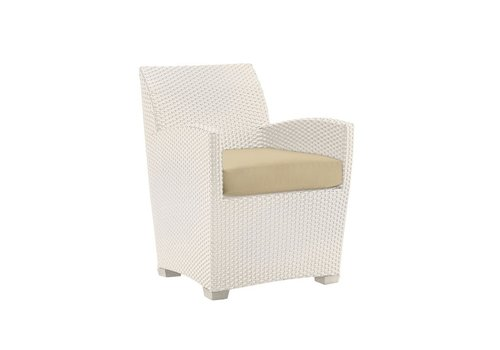 BROWN JORDAN FUSION DINING CHAIR IN PARCHMENT WHITE WITH GRADE A FABRIC