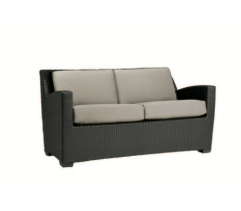 FUSION SLIM BACK CUSHION LOVESEAT IN BRONZE WITH GRADE A FABRIC