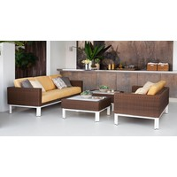 IL VIALE 35 INCH SQUARE COFFEE TABLE WITH SOLID ALUMINUM TOP
