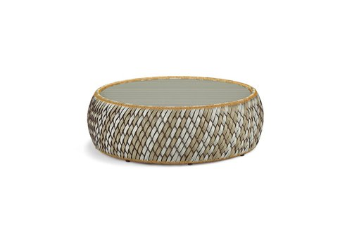 DEDON DALA 38 INCH FOOTSTOOL / COFFEE TABLE IN COLOR STONE WITH GLASS TOP INCLUDED