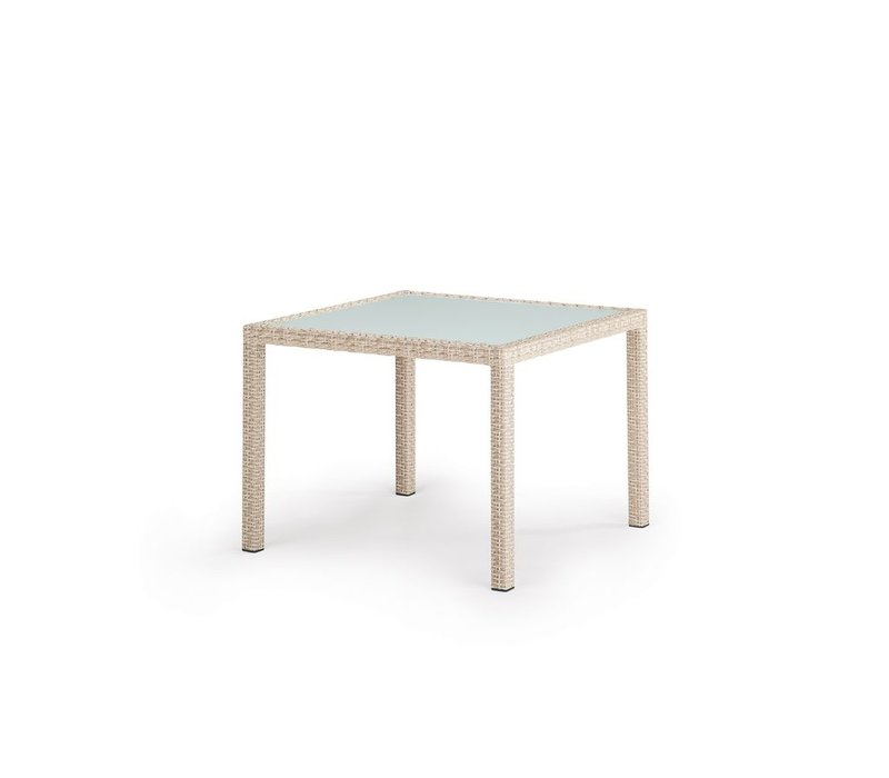PANAMA 39 SQUARE DINING TABLE IN ECRU WITH SATINATED GLASS TOP