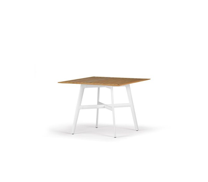 SEAX 39x39 DINING TABLE WITH WHITE BASE AND TEAK TOP