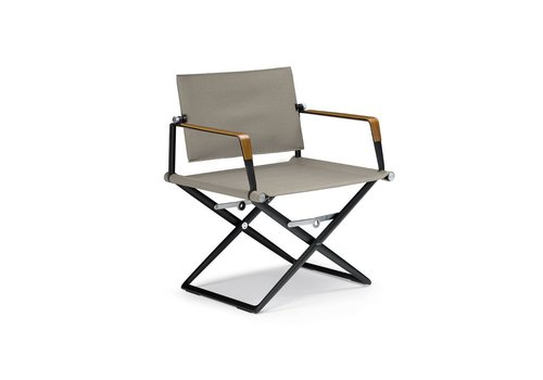 DEDON SEAX LOUNGE CHAIR WITH BLACK FRAME, SAIL TAUPE TEXTILE AND SEA-BENT PLYWOOD ARM ACCENTS