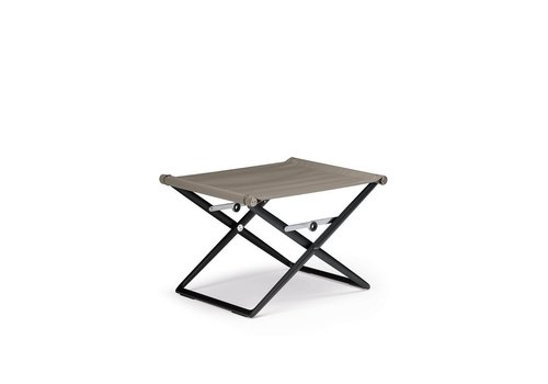 DEDON SEAX FOOTSTOOL WITH BLACK FRAME AND SAIL TAUPE TEXTILE