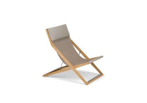 DEDON SEAYOU DECK CHAIR WITH TEAK BASE AND SAIL TAUPE SLING