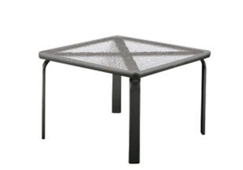 BROWN JORDAN QUANTUM 22 INCH SQUARE SIDE TABLE WITH GLASS TOP