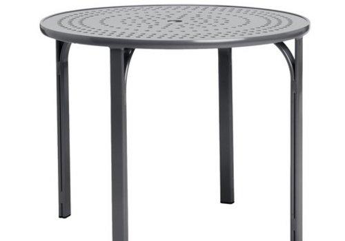 BROWN JORDAN QUANTUM 42 INCH ROUND DINING TABLE WITH NOVA ALUMINUM TOP AND UMBRELLA HOLE