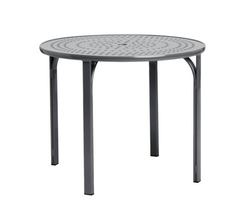 42 inch round dining table oak quantum 42 inch round dining table with nova aluminum top and umbrella hole brown jordan
