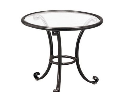 BROWN JORDAN ROMA 18 INCH OCCASIONAL TABLE WITH CLEAR GLASS TOP