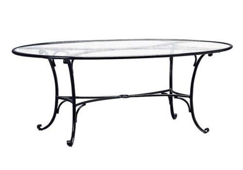 BROWN JORDAN ROMA 50x86 OVAL UMBRELLA TABLE WITH GLASS TOP